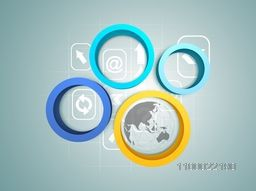 Colorful 3D abstract circles with web sign or symbols for business concept.
