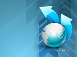 Illustration of World Globe with 3D arrows on glossy creative background for business concept.