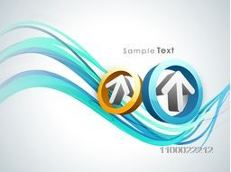 Illustration of 3D arrow in a circle on abstract waves background for business concept.