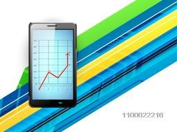 Illustration of a smartphone with statistical graph on abstract background for business concept.