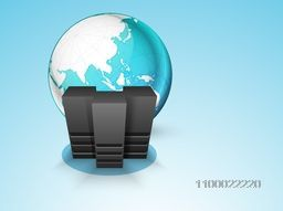 Illustration of Server with world globe for Networking or Technology concept.