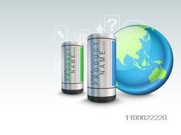 Illustration of batteries with world globe and web sign or symbols for business concept.