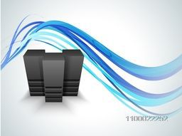 Illustration of Server on abstract waves background for Networking and Technology concept.
