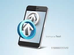 3D arrows in a circle with smartphone for business concept.