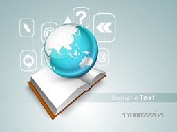 Illustration of blank book with world globe and web sign or symbols for business concept.