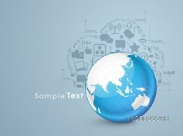 Illustration of world globe with social media sign or symbol for business concept.
