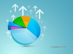 Colorful 3D pie chart with up side growth arrows for business concept.