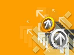 3D glossy arrows in a circle on abstract background for business concept.