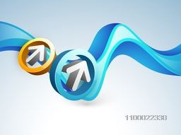 3D arrows in a circle on abstract waves background for business concept.