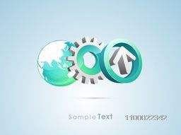 3D arrow with cogwheel or world globe for business concept.