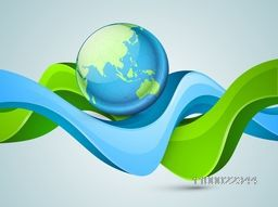 Illustration of glossy world globe with 3D abstract waves.