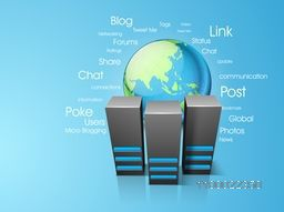 Illustration of Server with world globe for Networking and Technology concept.