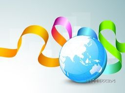Illustration of a world globe with colorful glossy ribbon.
