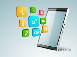 Modern illustration of Smartphone with colorful 3D web sign or symbols for business concept.