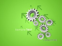 3D metallic cogwheel, gear or setting symbol with up side growth arrows for business concept.