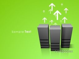 Illustration of Server with up side growth arrows for Networking and Technology concept.
