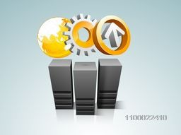 Illustration of Server with arrow, cogwheel or world globe for Networking and Technology concept.