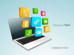 Illustration of a laptop with 3D colorful web sign or symbols for business concept.