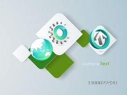 3D arrow with cogwheel symbol and world globe on paper stickers for business concept.