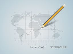 Vector infographic chart with pencil on world map for business concept.
