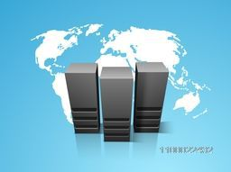 Vector illustration of Server on world map background for Networking and Technology concept.