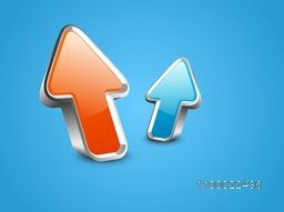 3D glossy colorful up side growth arrows for business concept.