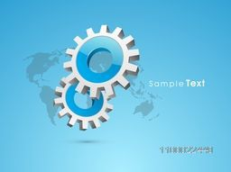 3D glossy cogwheel, gear or setting symbol on world map for business concept.