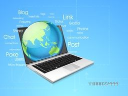 Illustration of a Laptop with world Globe for business concept.
