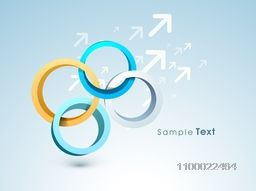 3D abstract circles on arrows background for business concept.