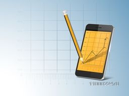 Illustration of a smartphone with infographic chart and pencil for business concept.