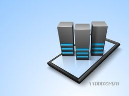 Illustration of Server on smartphone for Network and technology concept.