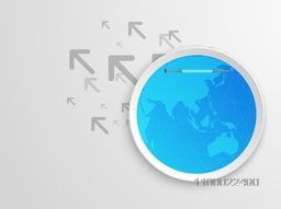Vector flat paper sticker or label with globe illustration on arrows background.