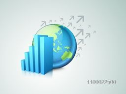3D infographic statistical bar with world globe for Business concept.
