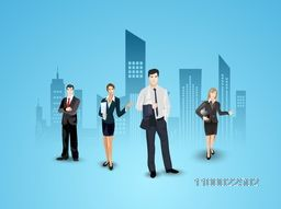 Vector illustration of Business People on city view background.