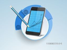 Illustration of a smartphone with infographical graph for business concept.