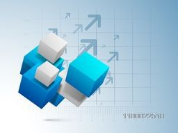 3D abstract cubes on creative graph background for business concept.