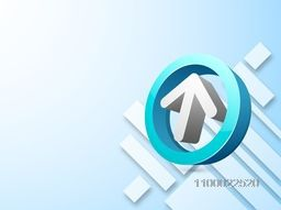 3D arrow in a circle on abstract background for business concept.