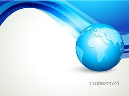 Glossy world globe on abstract waves background.
