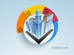 Vector infographic layout with illustration of a building.