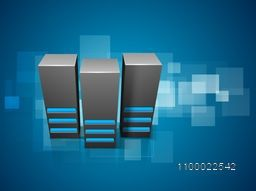 Illustration of Server on glossy abstract background for Technology and Networking concept.