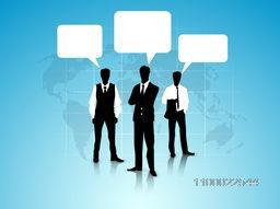 Black and white illustration of Businessmen with blank speech bubbles.
