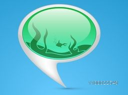 Vector glossy speech bubble with fire.