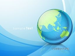 Illustration of a world globe on glossy abstract background.