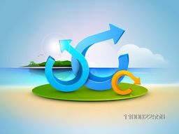 3D Arrows on nature background for business concept.