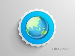 Illustration of a glossy world globe, creative sticker, tag or label for business concept.