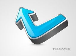 3D Arrow on glossy grey background for business concept.