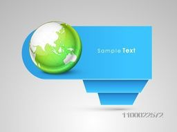 Blank paper banner or tag with world globe for business concept.