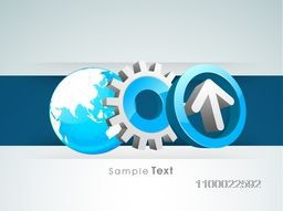 Vector 3D sign or symbol of Arrow, Cogwheel and Globe for Business concept.