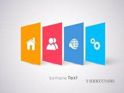 Web sign or symbols on colorful papers for Business concept.
