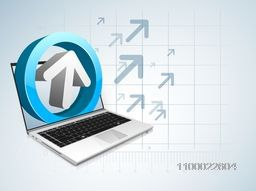 Illustration of a Laptop with 3D arrow for Business concept.
